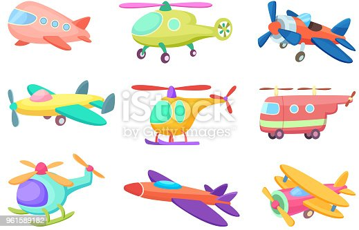 Illustrations of aeroplanes in cartoon style. Various toys for kids. Plane toy, airplane transportation for kids play vector