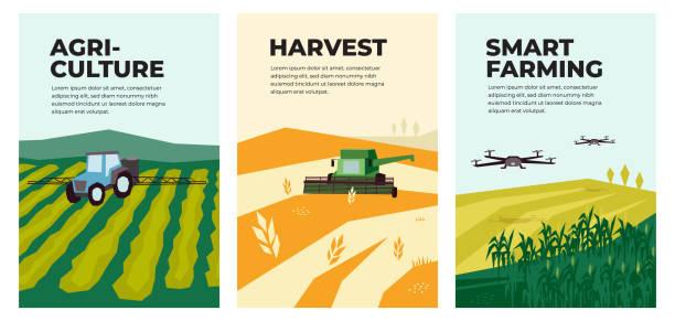 Illustrations of agriculture, harvest, smart farming – artystyczna grafika wektorowa