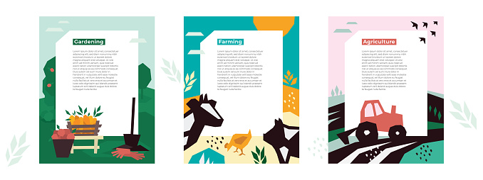 Illustrations of agro, farm and garden