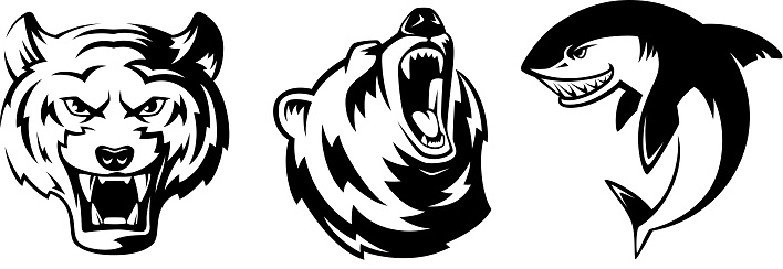 Illustrations Of Animals For Sport Badges Grizzly Tiger