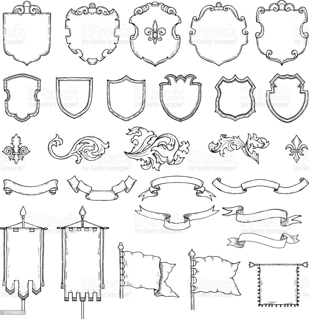 Illustrations of armed medieval vintage shields. Vector heraldic frames and ribbons