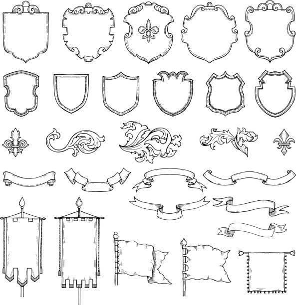 иллюстрации вооруженных средневековых старинных щитов. векторные геральдические рамы и ленты - средневековье stock illustrations
