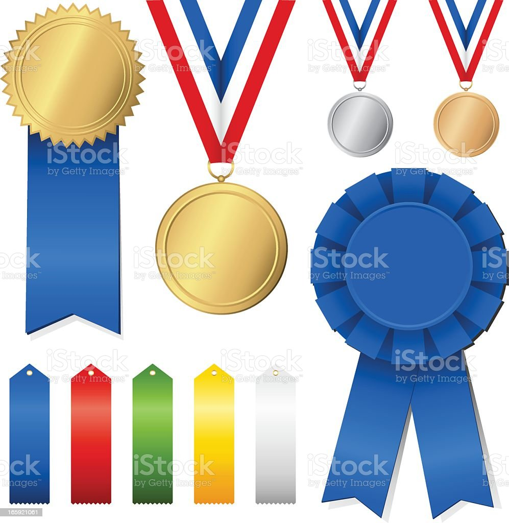Illustrations of colorful award ribbons and medals on white royalty-free illustrations of colorful award ribbons and medals on white stock vector art & more images of achievement