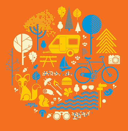 Illustrations of countryside items and activities on orange