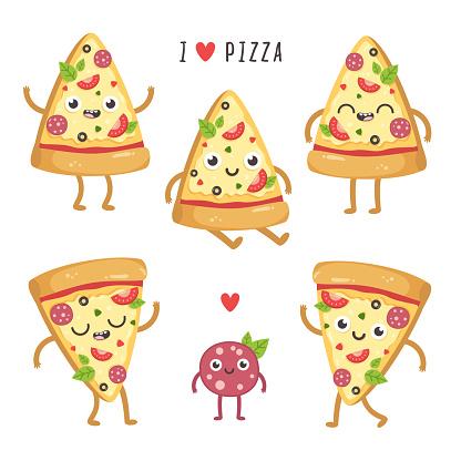 Illustrations of cute cartoon pizza slices.