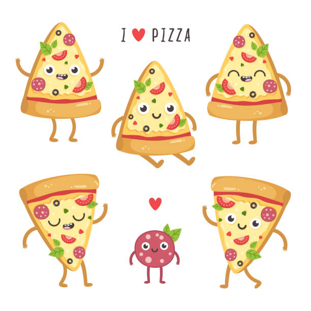 Illustrations of cute cartoon pizza slices. vector art illustration