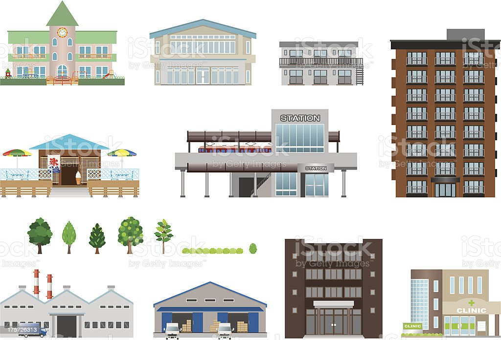 Illustrations of Different building Icon of building Apartment stock vector