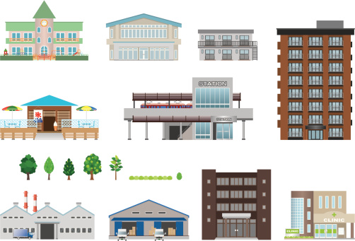 Illustrations Of Different Building Stock Illustration - Download Image Now
