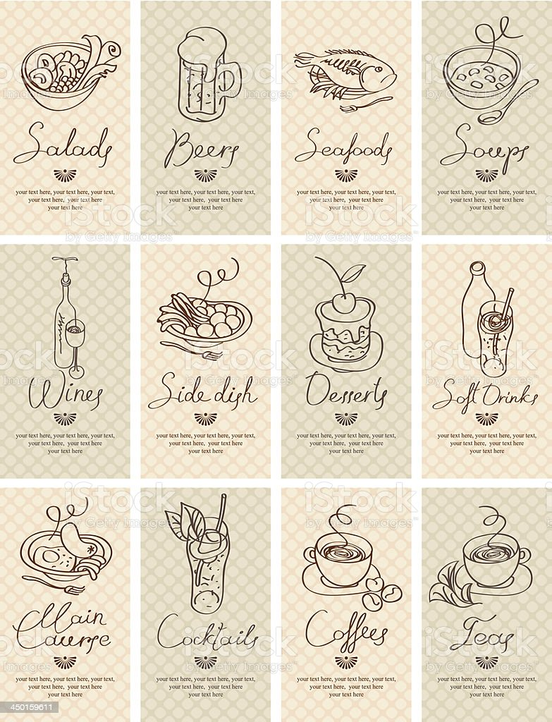 Illustrations of different foods royalty-free stock vector art