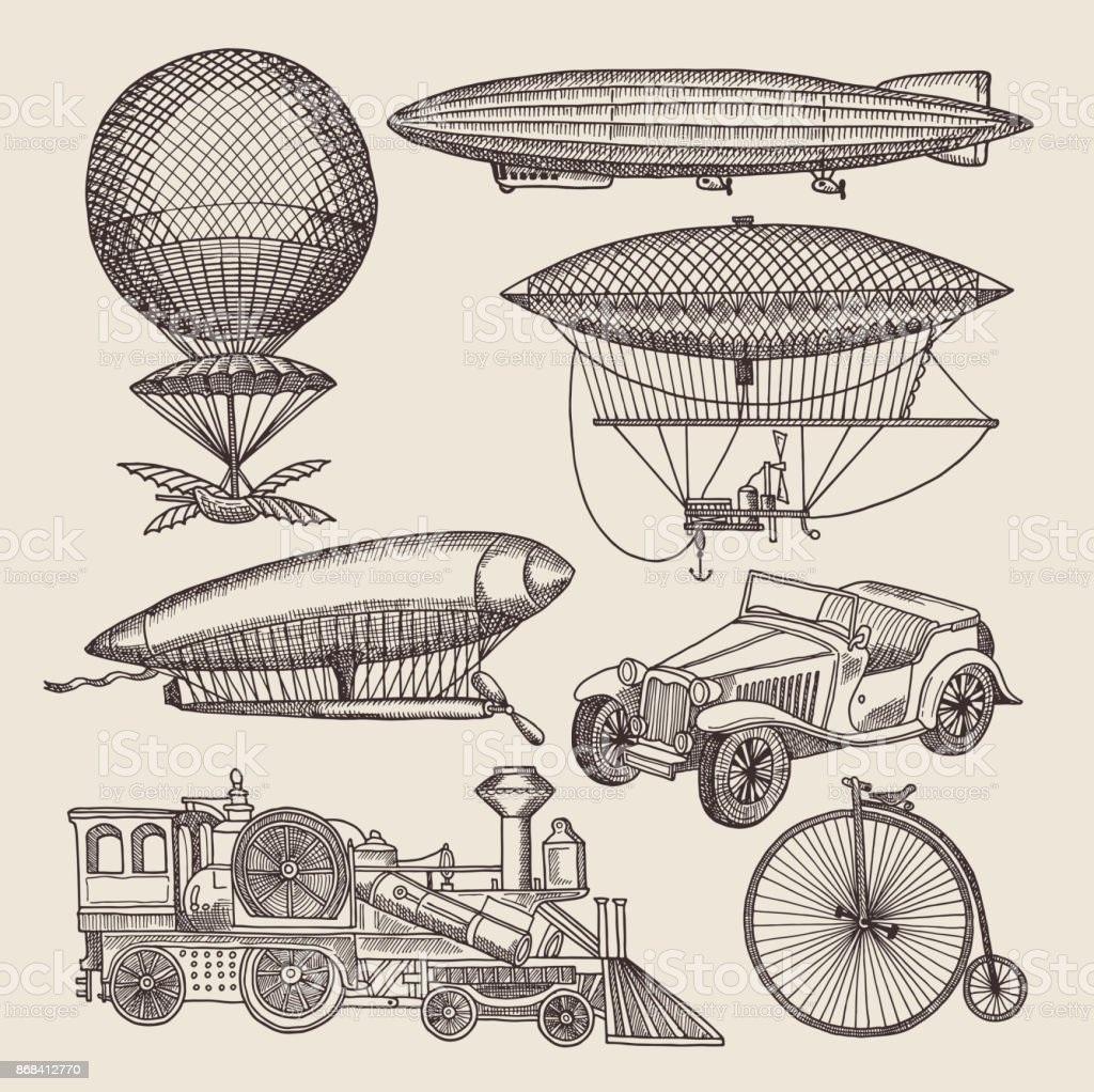 Illustrations of different retro transport. Balloons, zeppelin, machines and others. Hand drawn illustrations in steampunk vector art illustration