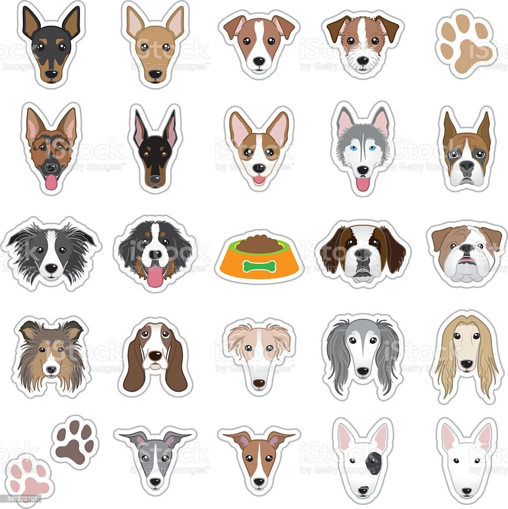 Illustrations of dog face vector art illustration