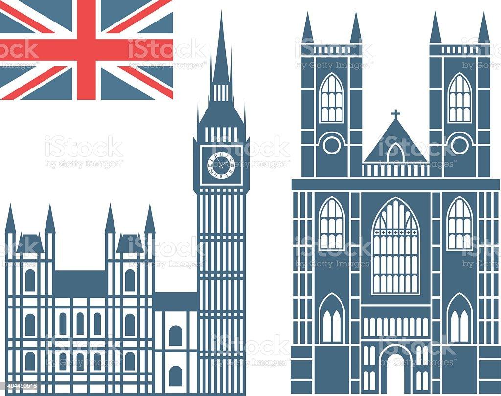 Illustrations of famous landmarks in England vector art illustration