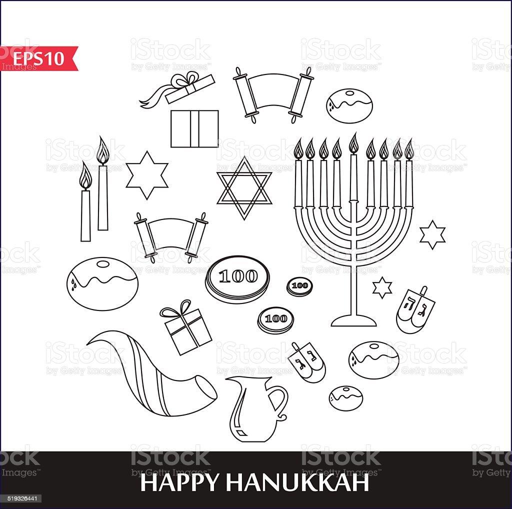 Illustrations Of Famous Symbols For The Jewish Holiday Hanukkah Menorah Lighting Diagram Royalty Free