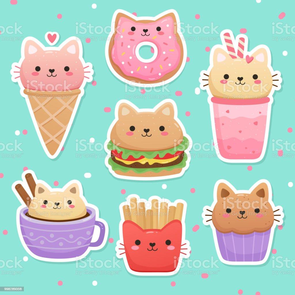かわいい猫の形をした食べ物のイラスト アイスクリームのベクター