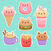 Milkshake, ice cream, donut, hamburger, muffin, cappuccino, french fries. Kawaii vector set