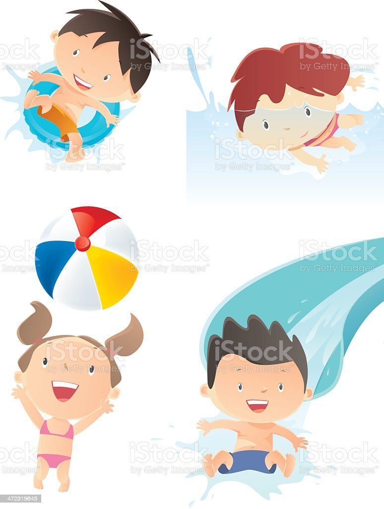 Illustrations of four kids playing in water themed pictures vector art illustration