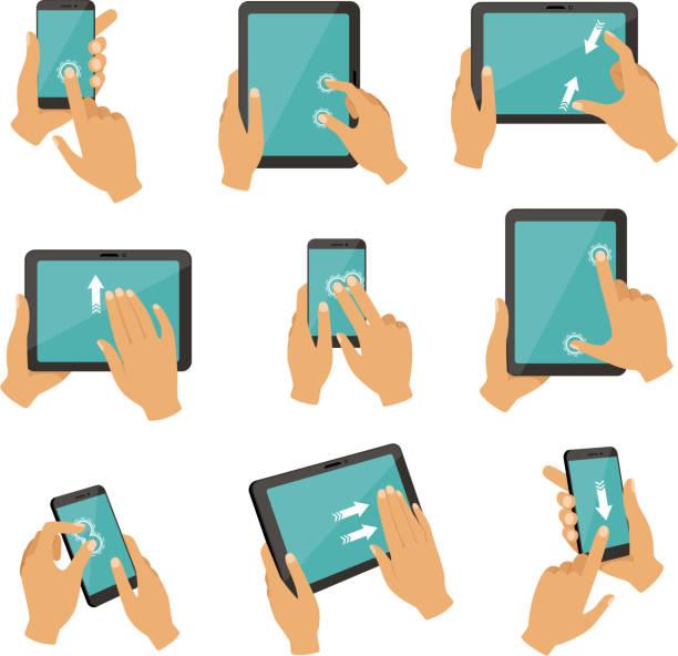 ilustrações de stock, clip art, desenhos animados e ícones de illustrations of gestures to control different devices tablets and smartphones - gesticular