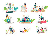 Illustrations of girls and boys engaged in household chores. Vector. Young people relax, play the guitar, cook, sit on the Internet. Relocation, delivery of things. Illustrations for the magazine. Gymnastics.