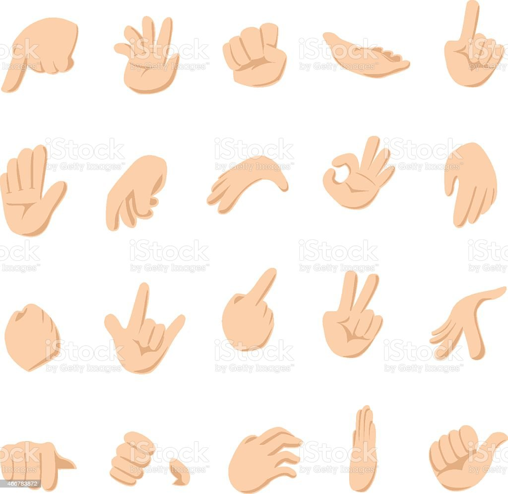 Illustrations of hands signs for communication vector art illustration