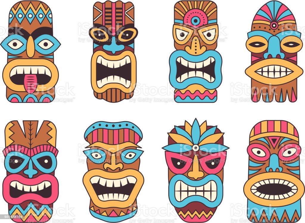 Illustrations of hawaiian tiki god tribal totem stock for Tiki hawaiano