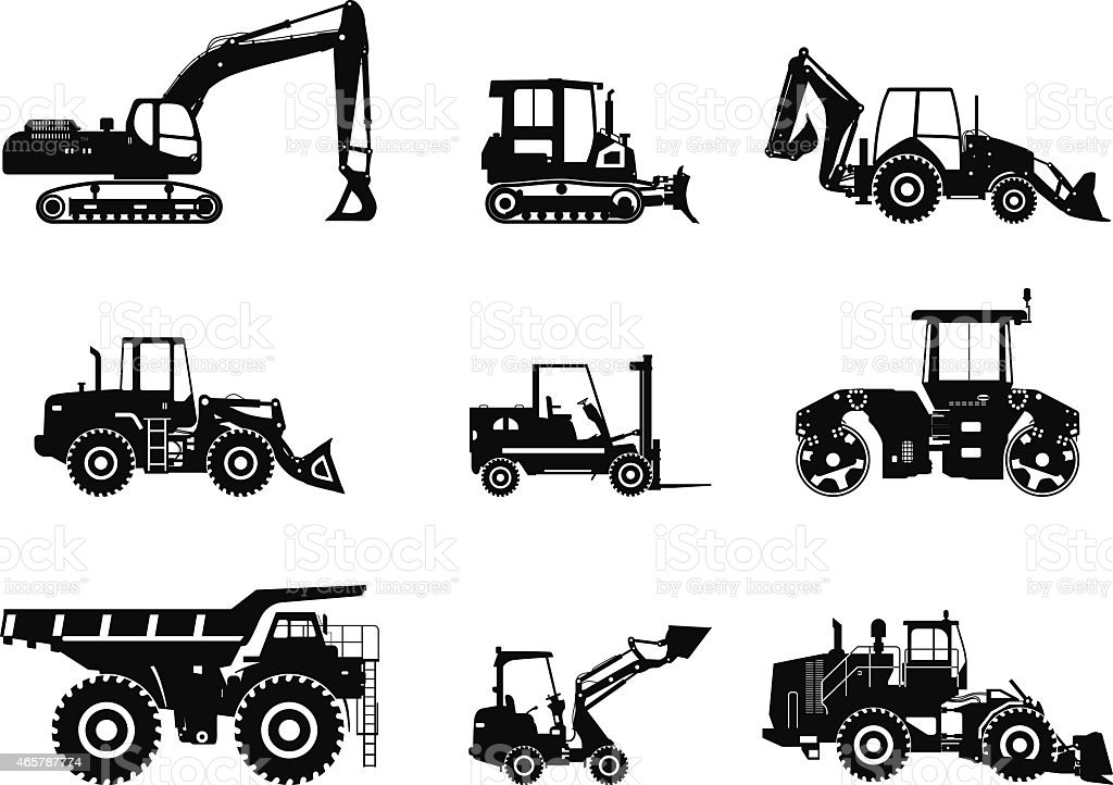 Illustrations of heavy construction vehicles vector art illustration