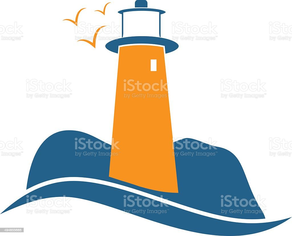 illustrations of lighthouse with seaguls.Vector vector art illustration