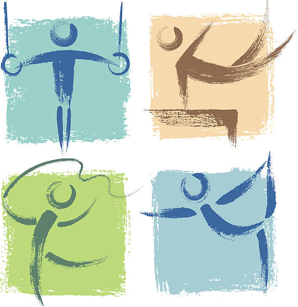 illustrations of many different sports icons - gymnastics stock illustrations, clip art, cartoons, & icons