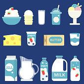 Illustrations of milk products. Cream, yogurt and cheese. Bottle milk and yogurt, cheese food and dairy cream vector