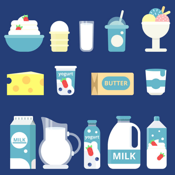 illustrazioni stock, clip art, cartoni animati e icone di tendenza di illustrations of milk products. cream, yogurt and cheese - latte