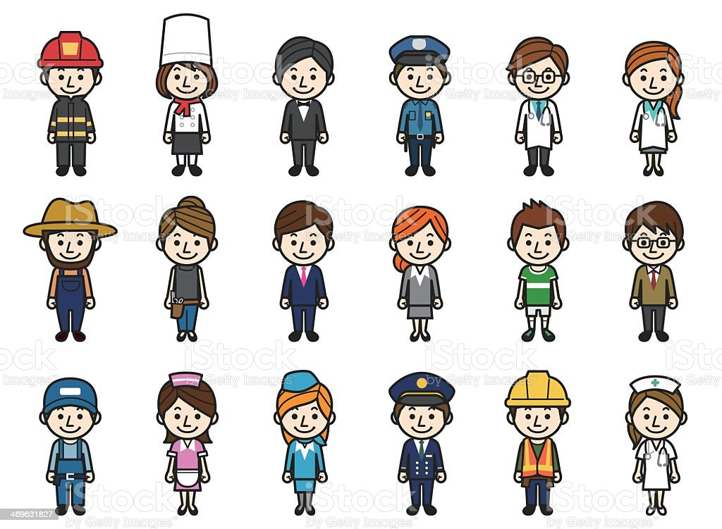 Illustrations of people with different professions royalty-free stock vector art