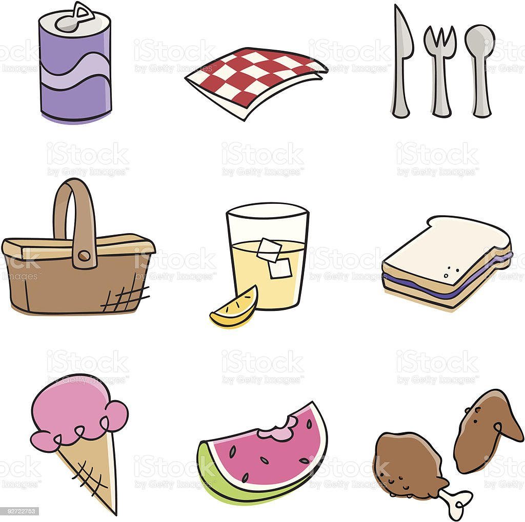 Illustrations of picnic food and drink vector art illustration