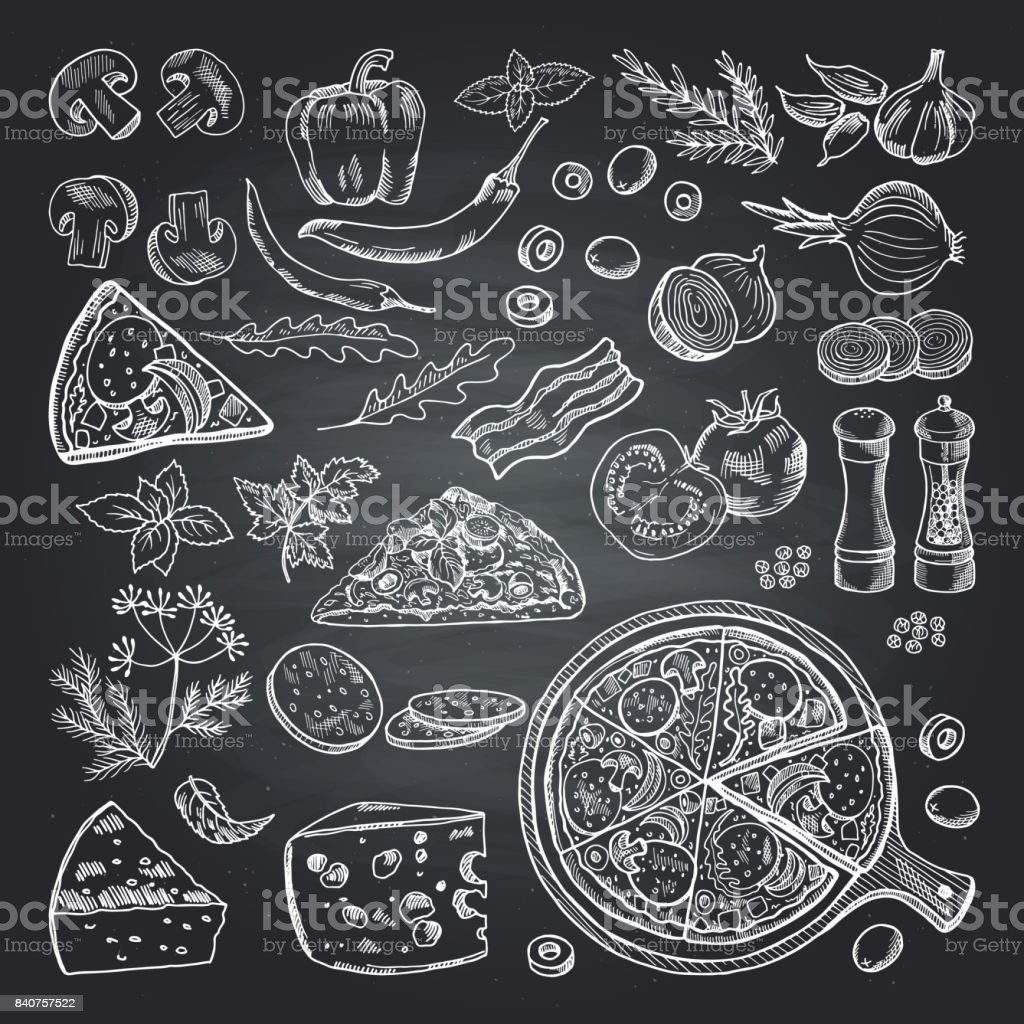Illustrations d'ingrédients de pizza sur tableau noir. Série de photos de cuisine italienne - Illustration vectorielle