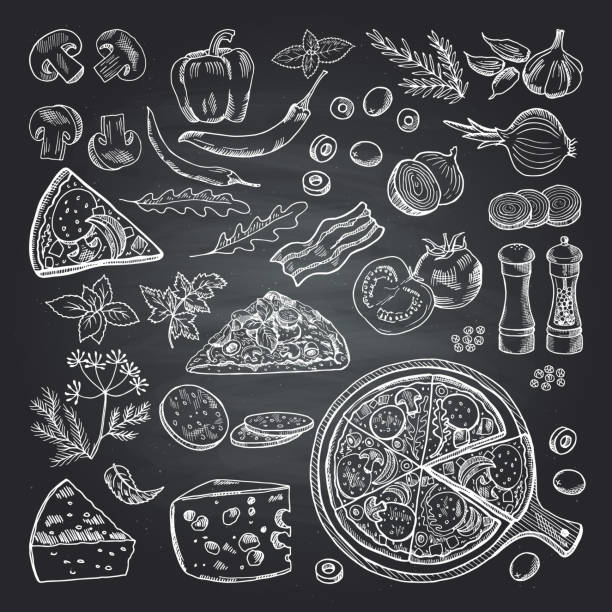 Illustrations of pizza ingredients on black chalkboard. Pictures set of italian kitchen vector art illustration