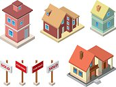 Illustrations of real estate including houses and signs
