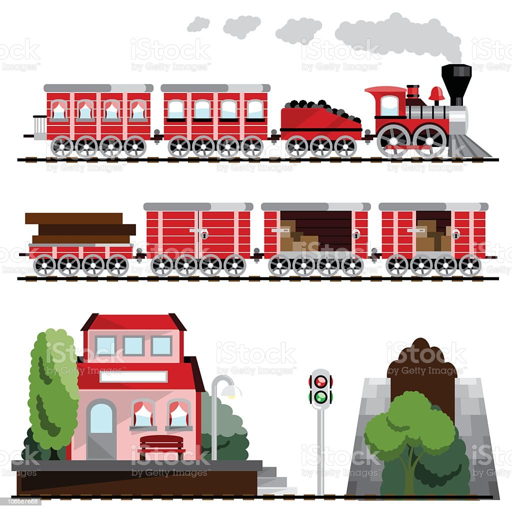 illustrations of red toy trains and train station stock vector art rh istockphoto com railway station clipart train station clipart