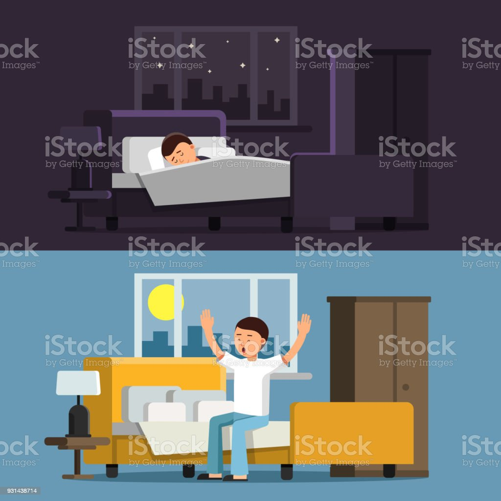 Illustrations of relaxed people. Sleeping man in bed in the night. Male in the morning vector art illustration