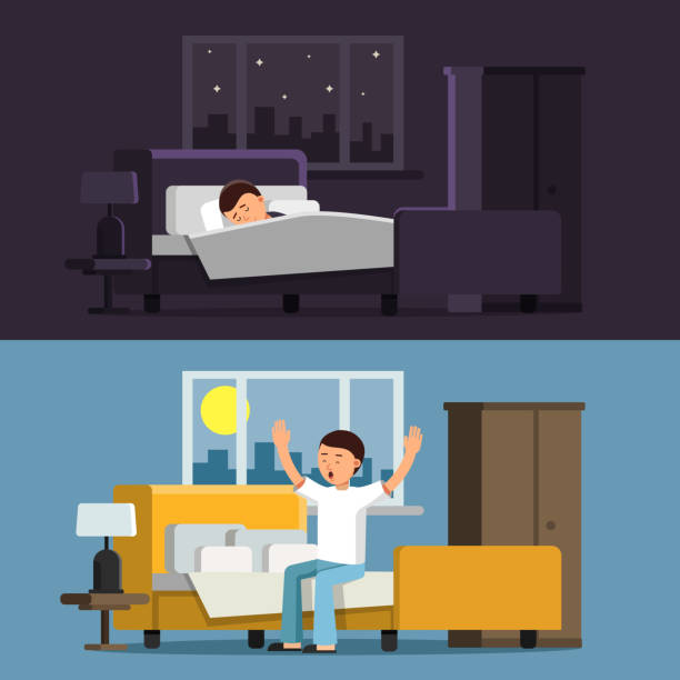 illustrazioni stock, clip art, cartoni animati e icone di tendenza di illustrations of relaxed people. sleeping man in bed in the night. male in the morning - uomo stanco