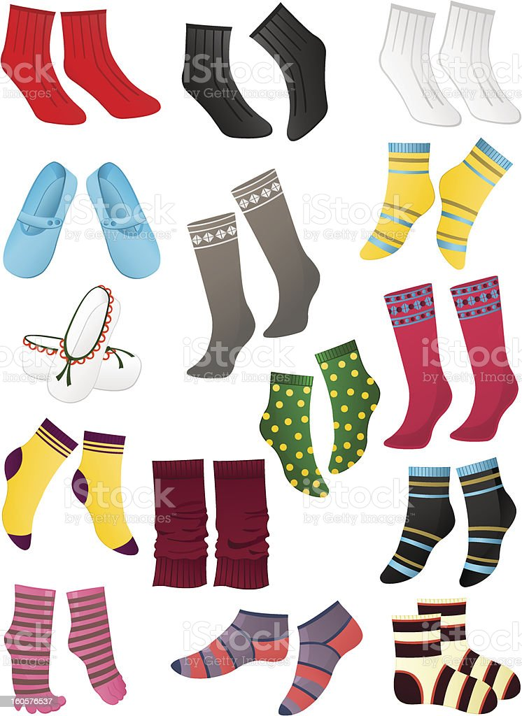 Illustrations of socks and slippers on white background royalty-free stock vector art