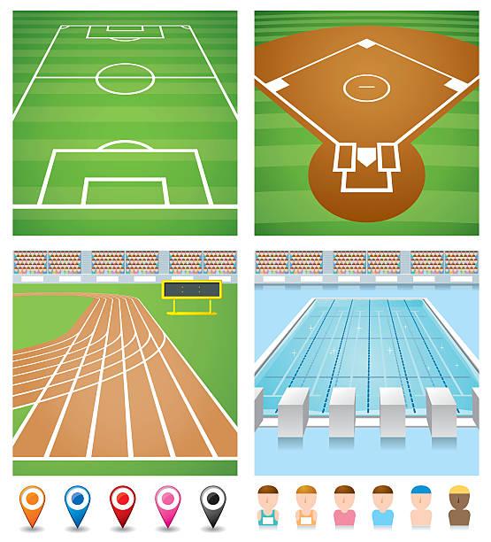 Illustrations of sport fields, track, pool and avatars vector art illustration