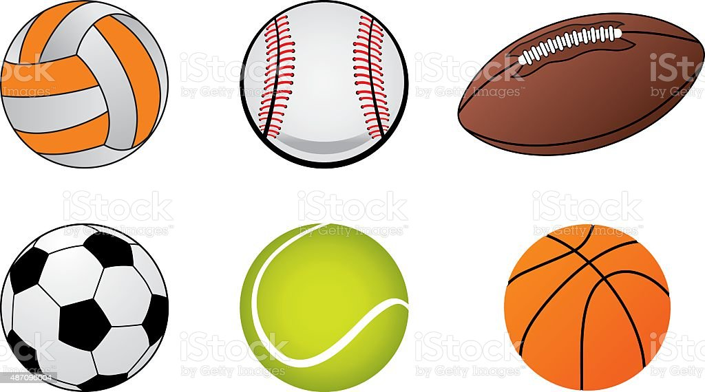 Illustrations of sports ball icons,soccer ball, baseball ball, tennis...
