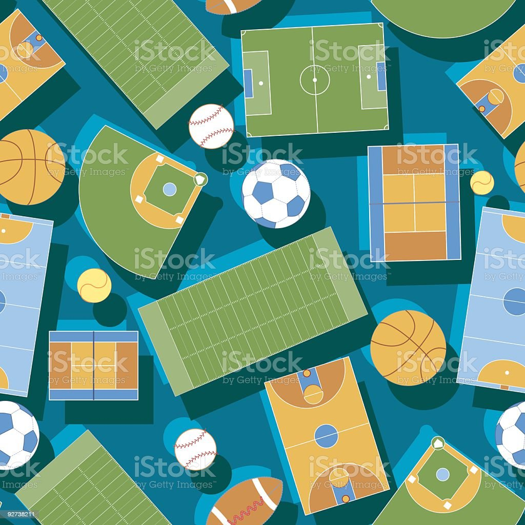 Illustrations of sports fields and balls vector art illustration