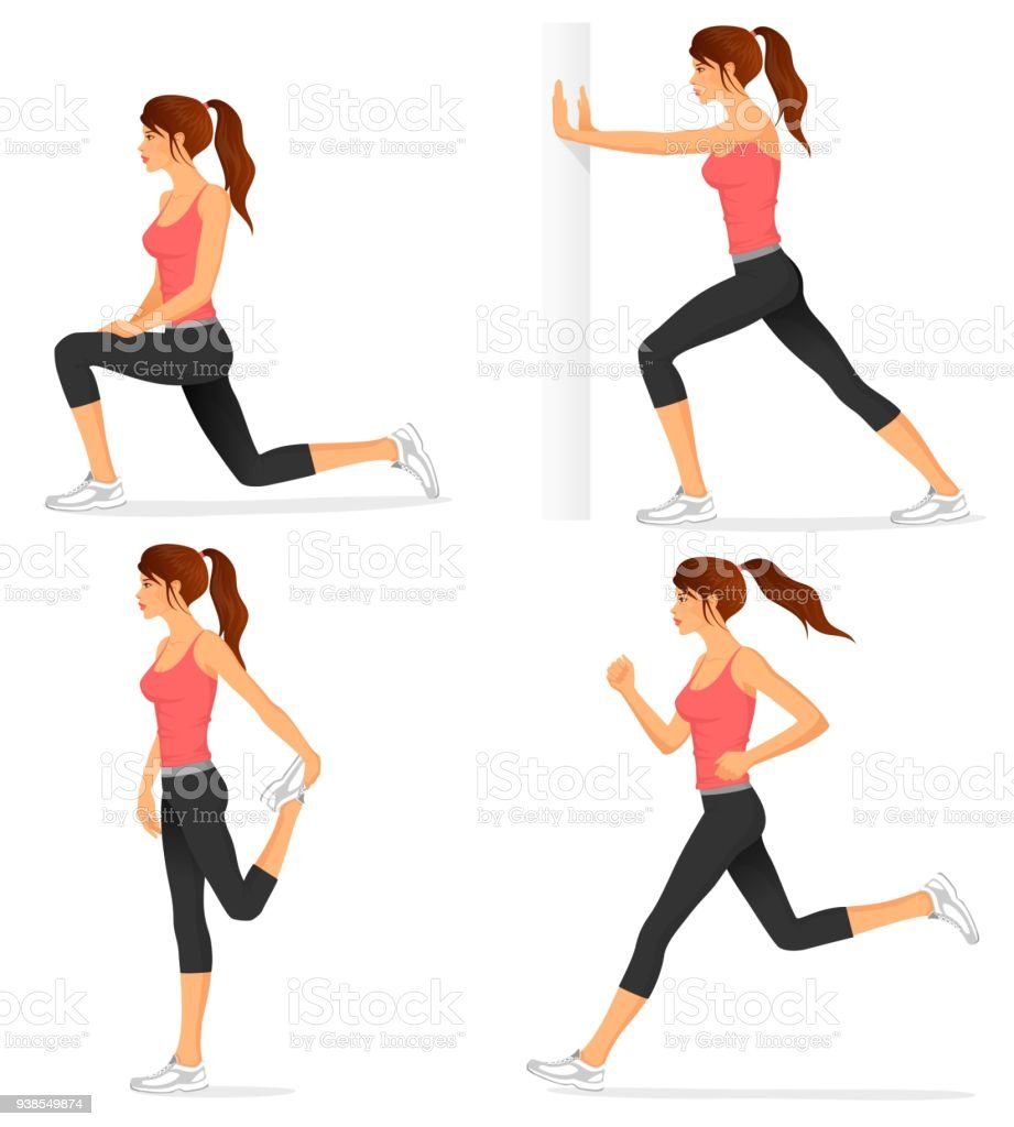illustrations of stretching exercises and jogging vector art illustration