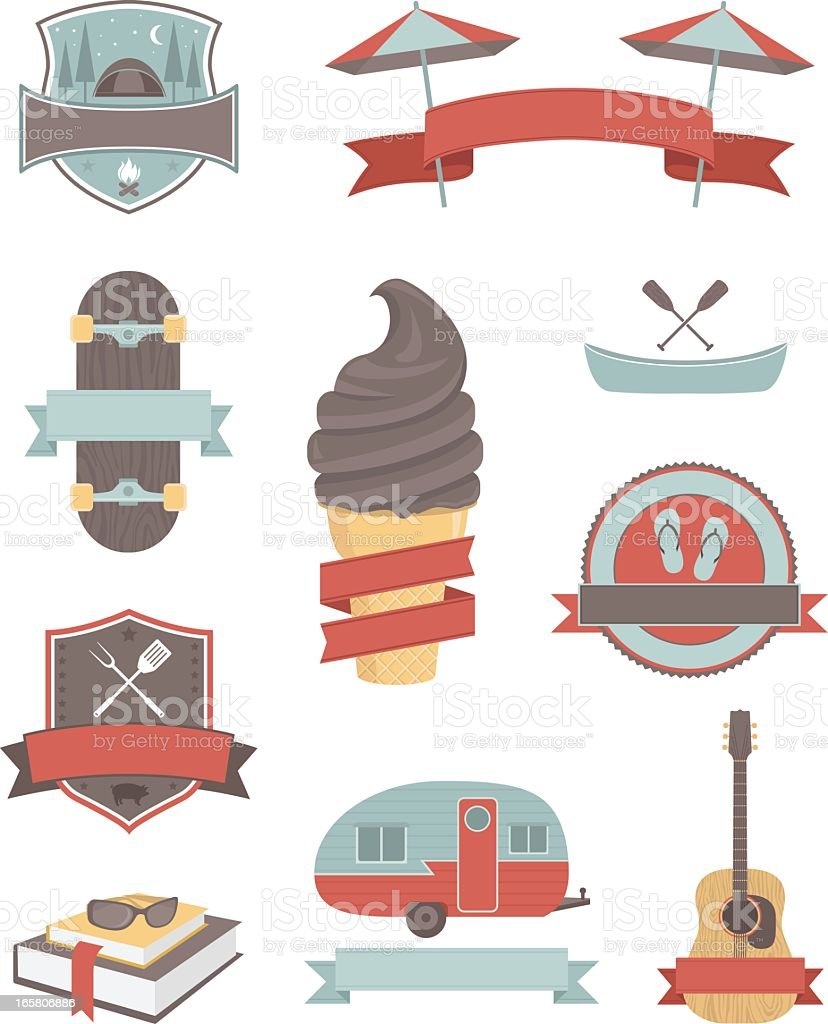 Illustrations of summer activity icons with banners royalty-free stock vector art