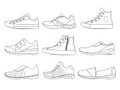 Illustrations of teenage shoes in linear style. Vector pictures of boots and sneakers. Set of shoes teenage linear style