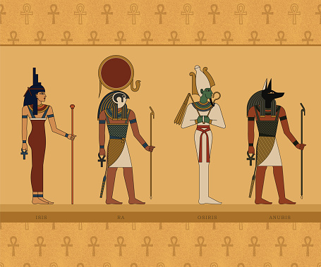 Illustrations of the gods of ancient Egypt. Isis, Ra, Osiris and Anubis