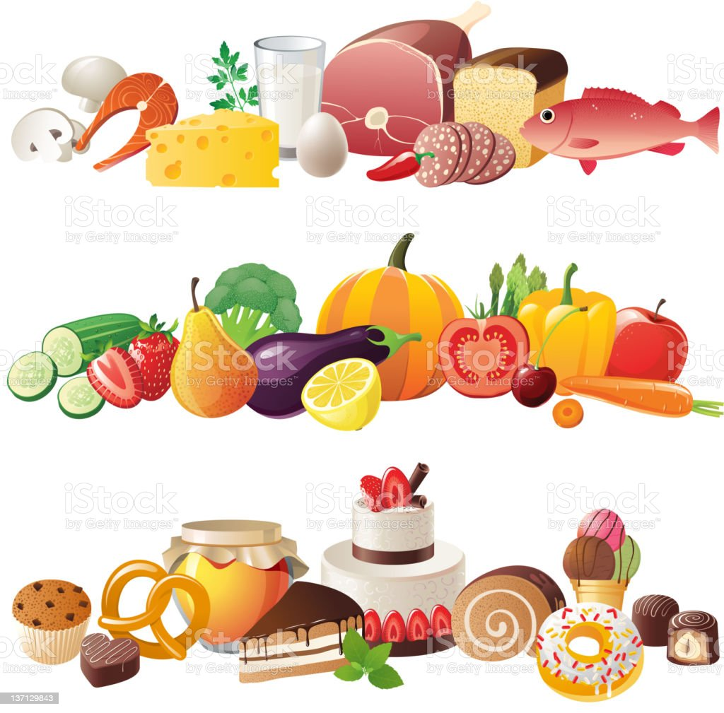 Illustrations of three borders, all consisting of food vector art illustration