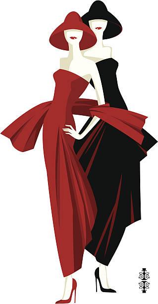 modische damen - couture stock-grafiken, -clipart, -cartoons und -symbole