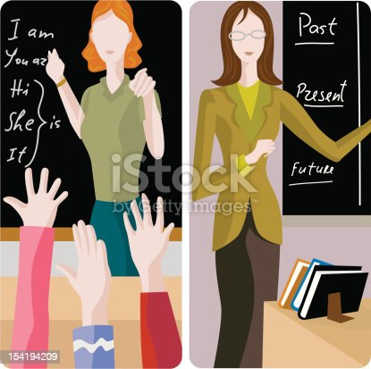 istock Illustrations of two teachers in a classroom setting 154194209