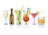 Illustrations of various alcoholic beverages