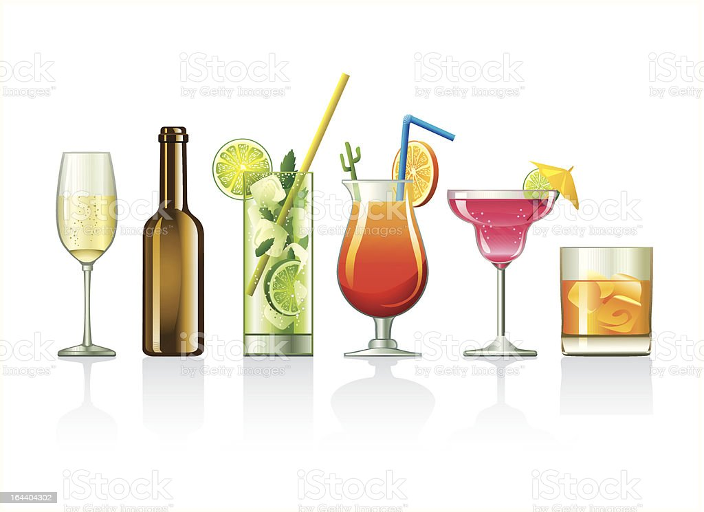 Illustrations of various alcoholic beverages vector art illustration